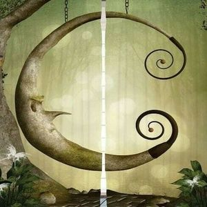 Curtains Wooden Moon Swing Print Backdrop 9542